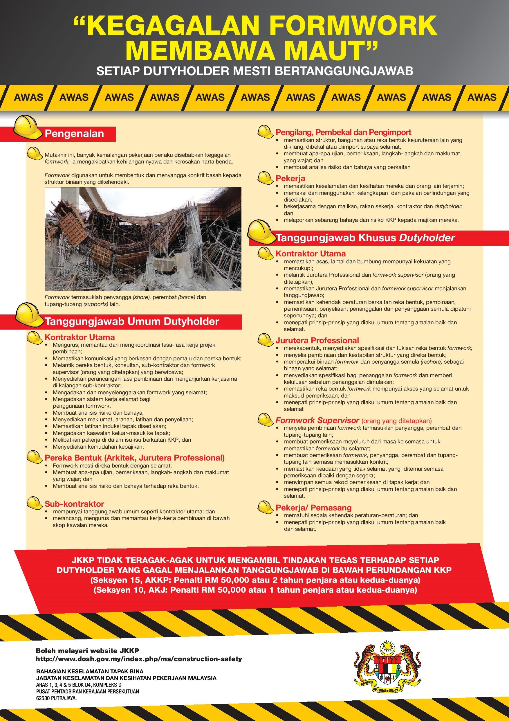Official Website Department Of Occupational Safety And Health Poster Construction Safety